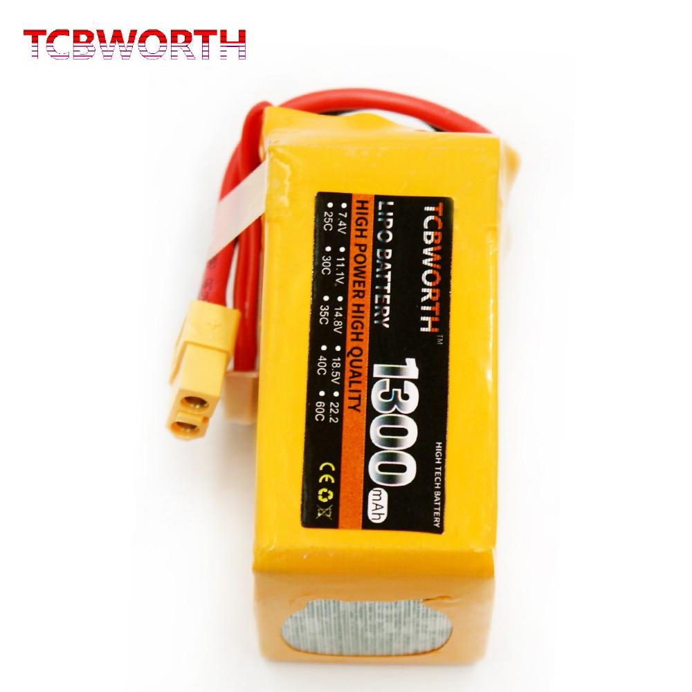 TCBWORTH RC LiPo battery 4S 14.8V 1300mAh 25C For RC Helicopter Airplane Car Boat Quadrotor Li-ion battery 1s 2s 3s 4s 5s 6s 7s 8s lipo battery balance connector for rc model battery esc