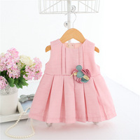 Baby Girl Pleated Dress Costume For Kids Sleeveless Christening Wedding Party Princess Dresses Toddler Girls Clothes
