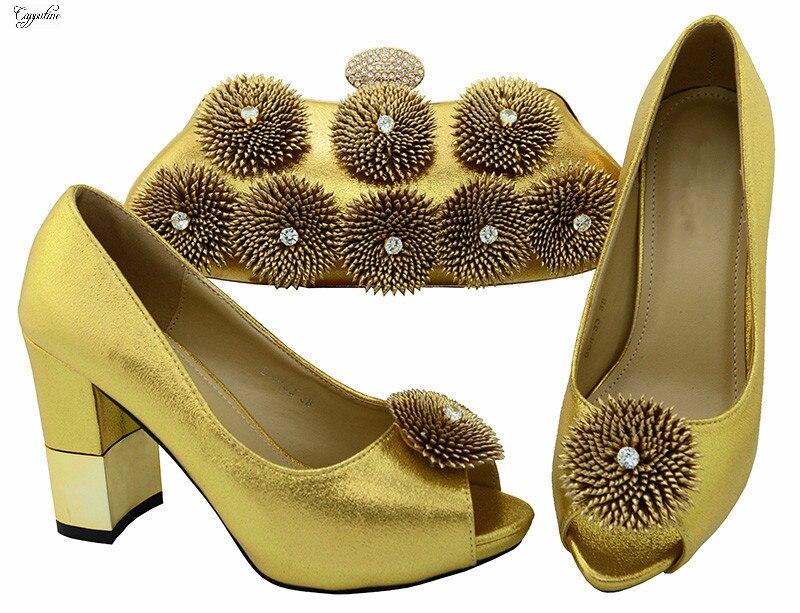 Модные золотые туфли-лодочки обувь на каблуке и сумочка с хороший украшения bch-33a, высота каблука 9.5 см