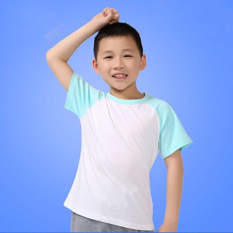 KIDS CASUAL BASEBALL T SHIRT RAGLAN SHIRTS BOYS GIRLS PLAIN TEE COTTON SHIRTS