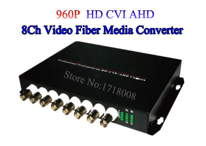 HDCVI 8 Channel Video optical Media Converter Transmitter Receiver Single mode 20KM