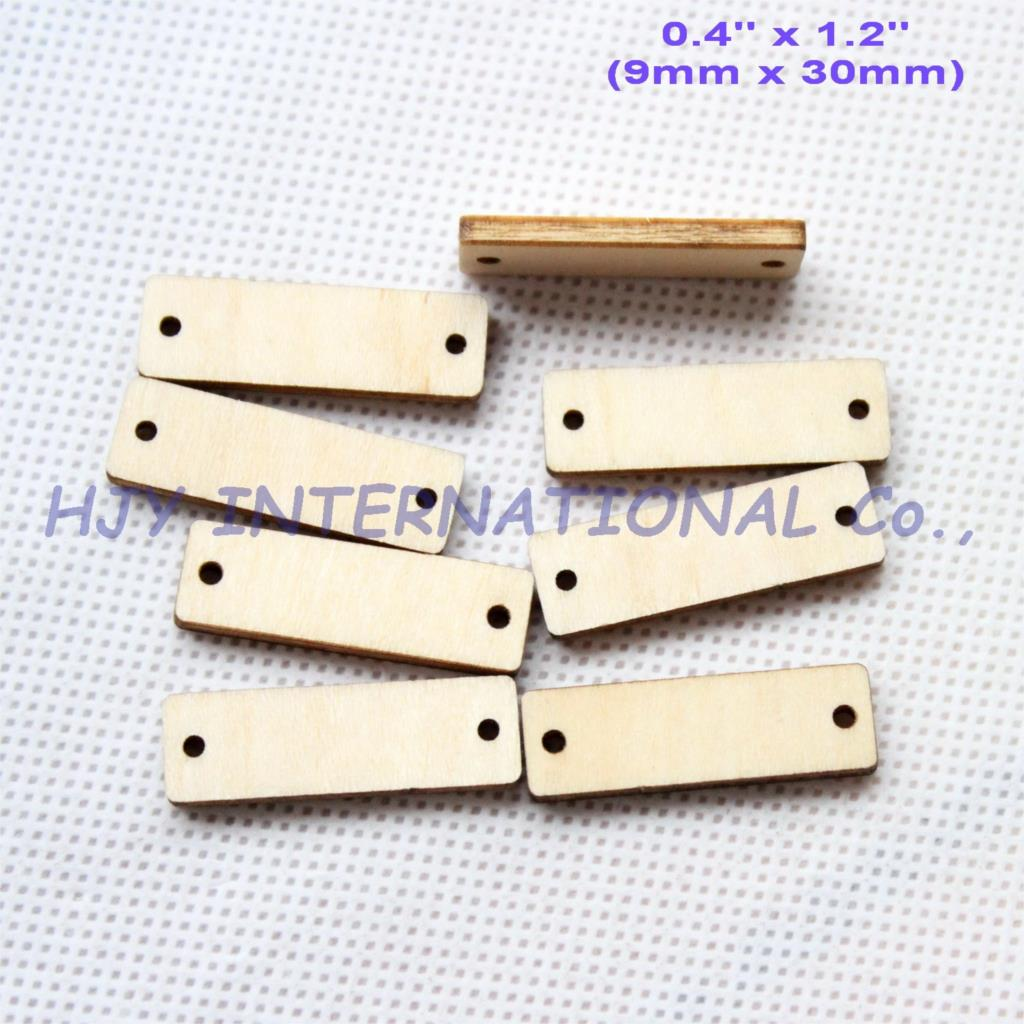 (50pcs/lot) 30mm Wooden Banner Blank Unfinished Rustic Rectangle Wood Tags Laser Cut 1.2