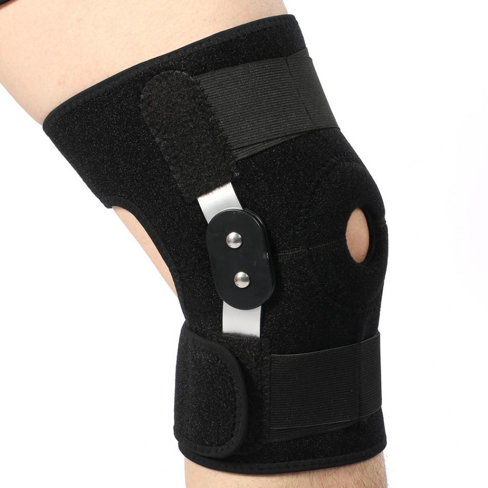 Ajustable de la rodilla soporte Pad Protector del rótula rodilla apoyo artritis de la articulación de la rodilla de la manga de compresión agujero con bisagras Kneepad