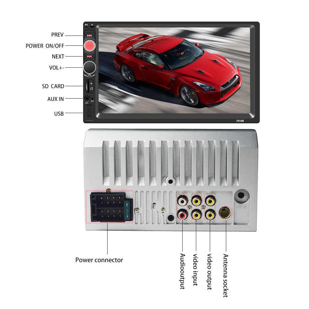 2 Din reproductor de Radio para coche 7 pulgadas HD Cámara Multimedia Universal MP5 Autoradio Bluetooth Audio espejo enlace gps navegación 7010B DVR