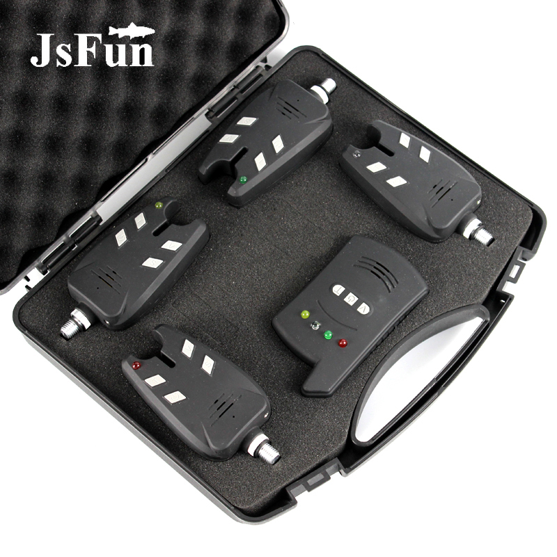 Wireless Fishing Bite Alarm Kit Carp Fishing Bite 1 Receiver 4 Fishing Transmitter With Waterproof Shockproof Storage Box FO302