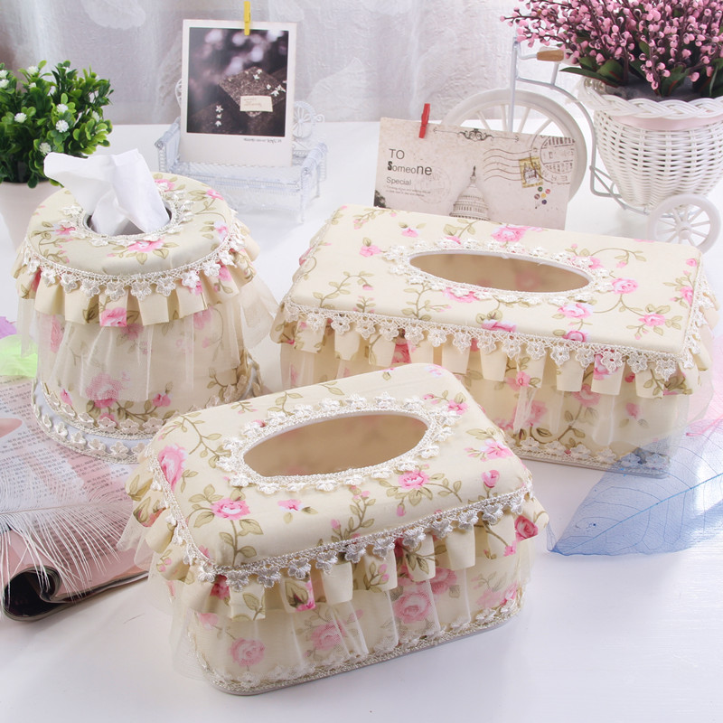 Sufism fashion rustic fabric lace tissue box tray office desk pumping paper box vehienlar pumping paper box