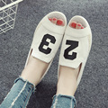 Summer Korean version cloth slippers shoes lazy shoes Peas white shoes fish head flats sandals women canvas