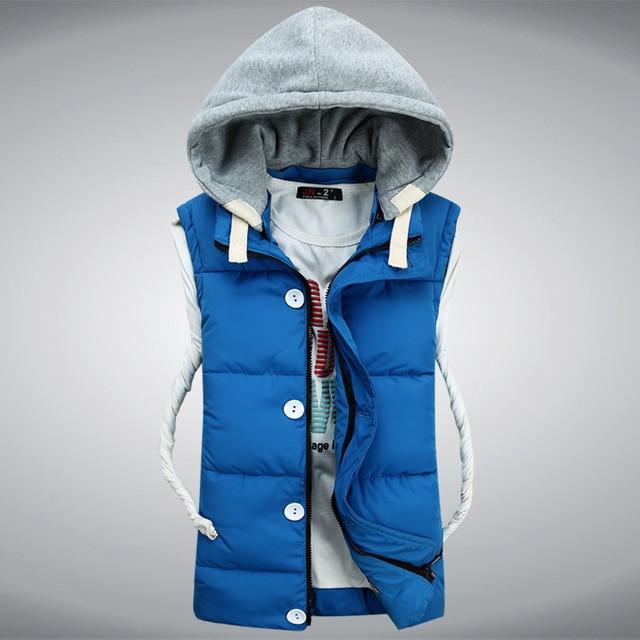 Men Winter Down Vest Brand New Fashion Men's Sleeveless Jacket Casual Coat Cotton Brand Winter Outdoors Waistcoat HZ868