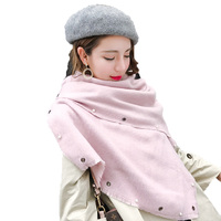 New Luxury Brand Winter Scarves Beaded Pearls Thick Warm Blanket Fashion Women's Scarf Hijab Wrap Cashmere Scarf Shawl Pashmina
