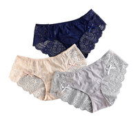 Women Underwear solid Sexy Panties Lace low-Rise Bow cotton Briefs  Transparent embroidery Lingerie New Hot women's panties