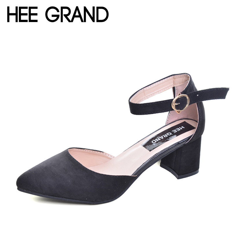 HEE GRAND Summer Pumps Shoes Flock Pointed Toe Mary Janes High Heels Casual Autumn Elegant Lady Buckle Strap Shoes Woman WXG009 new fashion thick heels woman shoes pointed toe shallow mouth ankle strap thick heels pumps velvet mary janes shoes