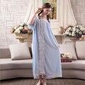 Mulheres Sleepwear Vestido de Princesa Noite desgaste Real Do Vintage Vestido de Camisola 2017 Primavera Camisola Verão Frete Grátis