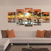 African Paintings Canvas Elephants Art 5 Panel Canvas Wall Art Artwork Handmade African Landscape Oil Paintings Decor Pictures