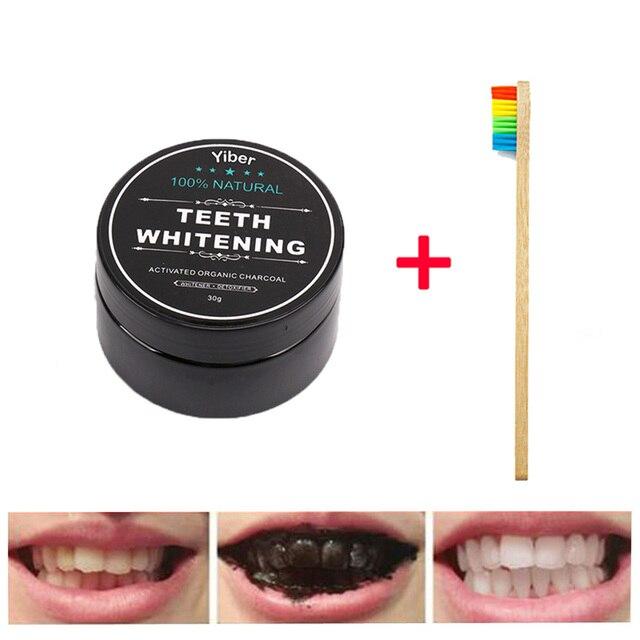 Polvo blanqueador de dientes polvo de carbón activado Natural dientes blancos pasta de dientes herramientas dentales higiene bucal limpieza