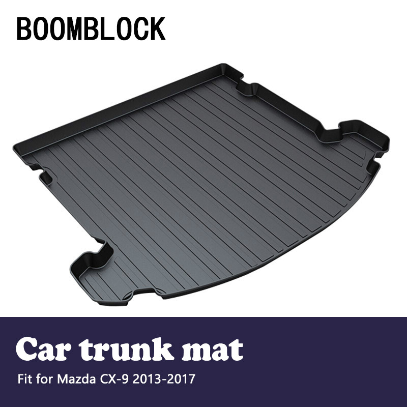 BOOMBLOCK For Mazda CX-9 CX9 2013 2014 2015 2016 2017 Waterproof Anti-slip Car Trunk Mat Tray Floor Carpet Pad Auto Accessories for mazda cx 5 cx5 2012 2013 2014 2015 2016 accessories interior leather floor carpet inner car foot mat
