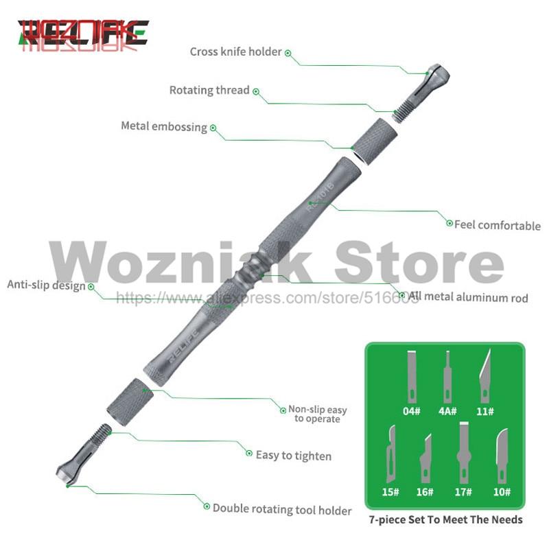 RELIFE RL-101B 8-in-1 Knife Set For Mobile Phone Mainboard BGA PCB Chip IC Repair Degumming Spade Scraper