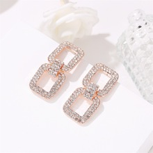 Korean version of geometric exaggerated earrings temperament simple long paragraph female square full crystal
