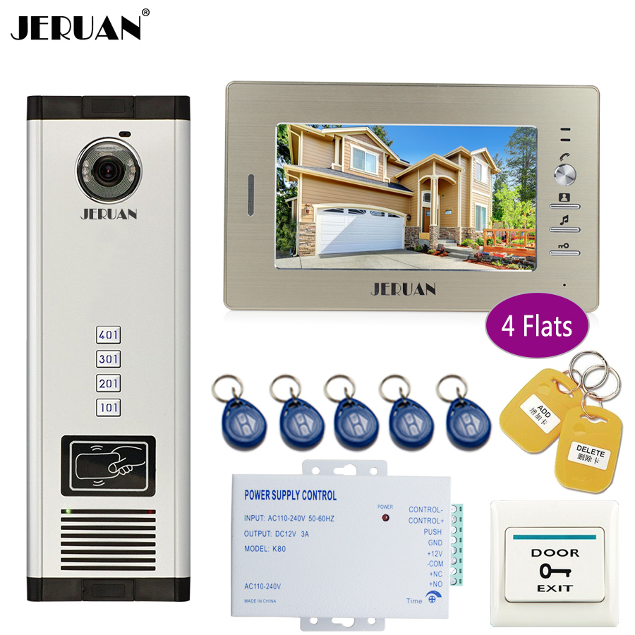 JERUAN 7 inch LCD Monitor 700TVL Camera Apartment video door phone 4 kit+Access Control Home Security Kit+free shipping