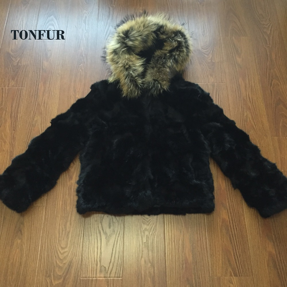low women's winter rabbit fur coat with raccoon fur collar winter rabbit fur jacket outerwear Free shipping  TF0269