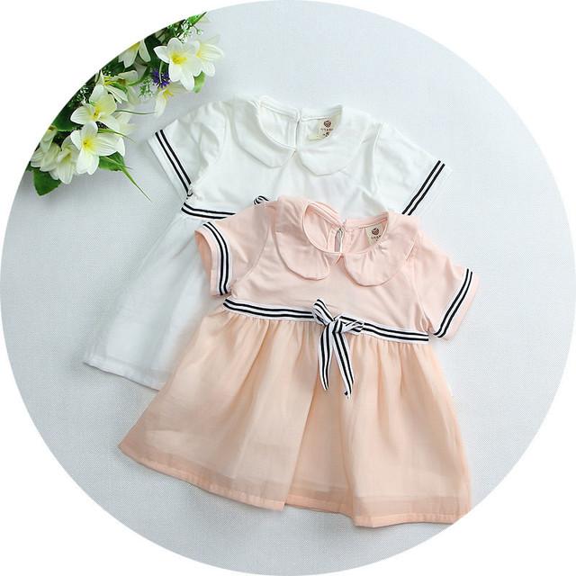 1 pcs hot 2016 Verão do bebê roupas das meninas vestido de algodão Crianças o vestido da menina do bebê sólida casuais Vestidos para as meninas da criança vestido de festa