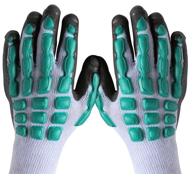 Doprava zdarma za horka prodává dva páry proti šokům / proti quate bezpečnosti chránící latexem vynucené pracovní rukavice těžké práce