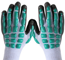 Free shipping hot selling two pairs  anti-shocked /anti-quate safety protecting latex enforced working gloves heavy works