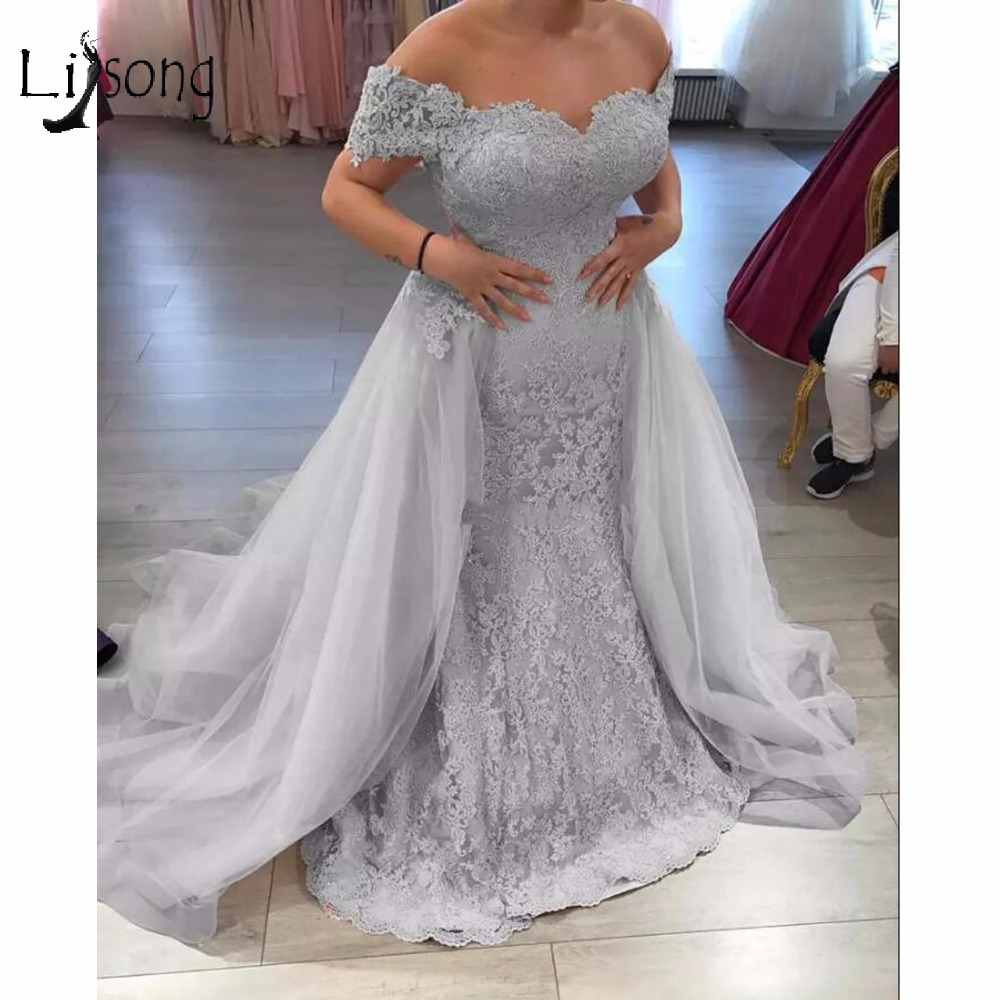 Prom Dress With Detachable Train: Modest Silver Lace Evening Dresses 2018 With Detachable
