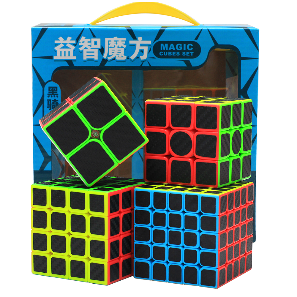 ZCUBE Bundle 2x2 3x3 4x4 5x5 Speed Cube Set 4pcs/box Stickerless With Carbon-fibre Stickers Magic Cube Puzzle Toys Game Gift Box