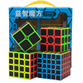 ZCUBE Paquete de 1x1 2x2 3x3 4x4x3 4x4 5x5 Speed cubo 4 unids/caja Stickerless con pegatinas de fibra de carbono cubo mágico rompecabezas juguetes juego caja de regalo