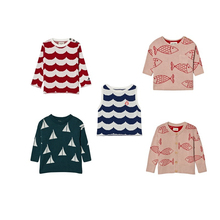 Sailor knitted jumper Sea red waves  Knitted Jumper Alma for boby boys girls kids sweater