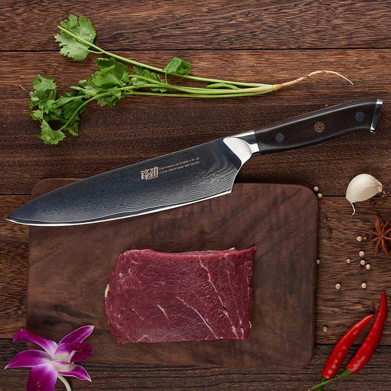 FINDKING abanoz ahşap saplı şam bıçak 8 inç profesyonel şef bıçağı 67 katmanlar şam çelik mutfak bıçakları