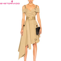 Women sexy strap off the shoulder party office dress slash neck long asymmetry ruffled work casual sashes beach club dress khaki