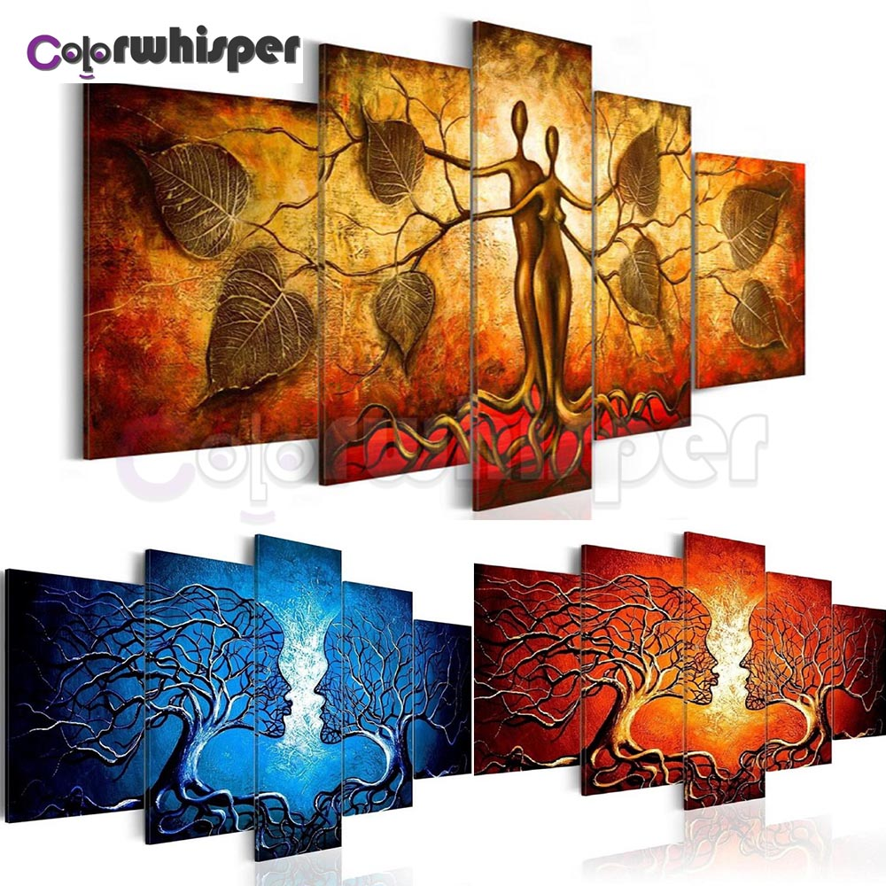 5PCS Diamond Painting Full Square Round Drill Love Tree 5D Daimond Painting Embroidery Cross Stitch Crystal