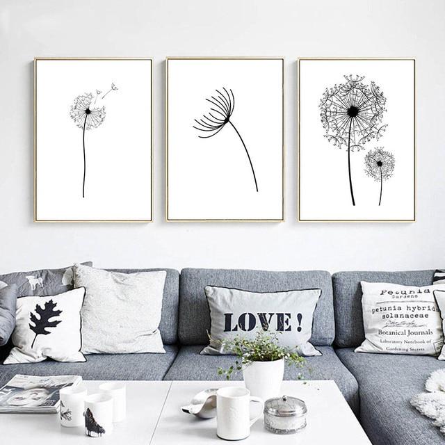 Dinding Seni Kanvas Poster Hitam Putih Minimalis Cetak Lukisan Bunga