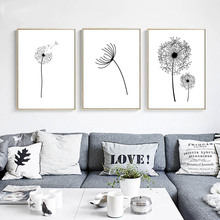 Wall Art Canvas Poster Black White Minimalist Print Painting Dandelion Flower Landscape Picture For Living Room Home Decoration