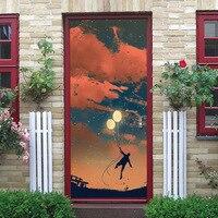 Scenery Balloon Portrait Cartoon 3D Door Sticker DIY Home Decor Creative Art Mural Door Stickers Decals