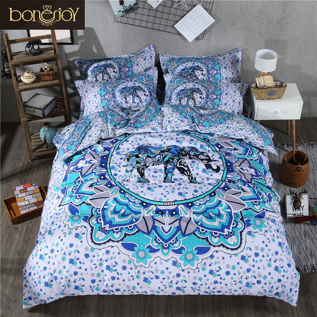 824d4998e37 Bonenjoy Blue and White Bedding Set Boho Duvet Covers Elephant Indian Style  Reactive Printed With Pillow Case Queen Size Bed Set