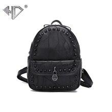 Мини-Милый WOM рюкзак женский кожаный рюкзак овчины старинные Заклёпки Школьные ранцы для девочек backbag плечо назад мешок d