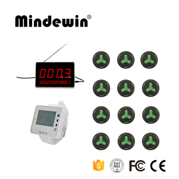 Mindewin Wireless Calling Pager Systems,Factory Bell System,12 Call Bells And 1 Watch Receivers,1 LED Display,Restaurant