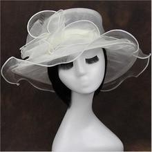 1 pcs Womens beach hats Caps 2016Summer Fashion Foldable Chiffon Voile Sun Hats Retro Ladies sombreros voile flowers hat