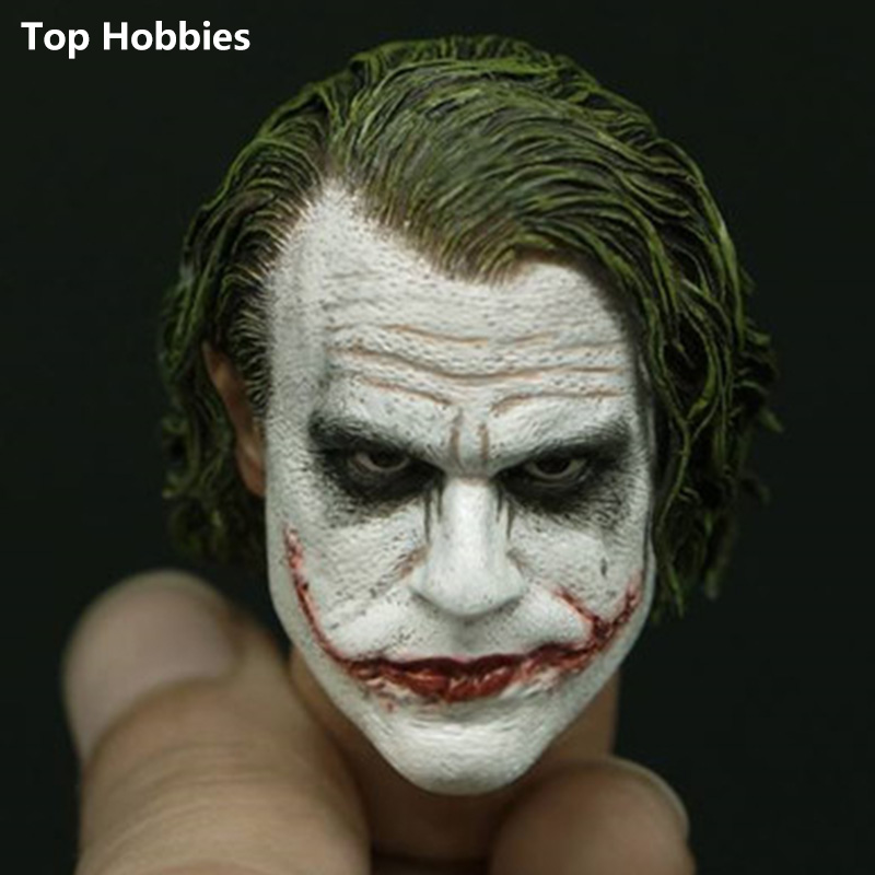 1/6 Batman Dark Knight Male Head Scale Sculpting Model Toys The Joker Heath Ledger Head Stitch Clown For 12