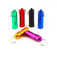 1 pc Mini Tragbaren schlüssel halter Pille Box Keychain Wasserdichte Aluminium Pille Fall Flasche Medikament Halter Container medizin box Verkauf
