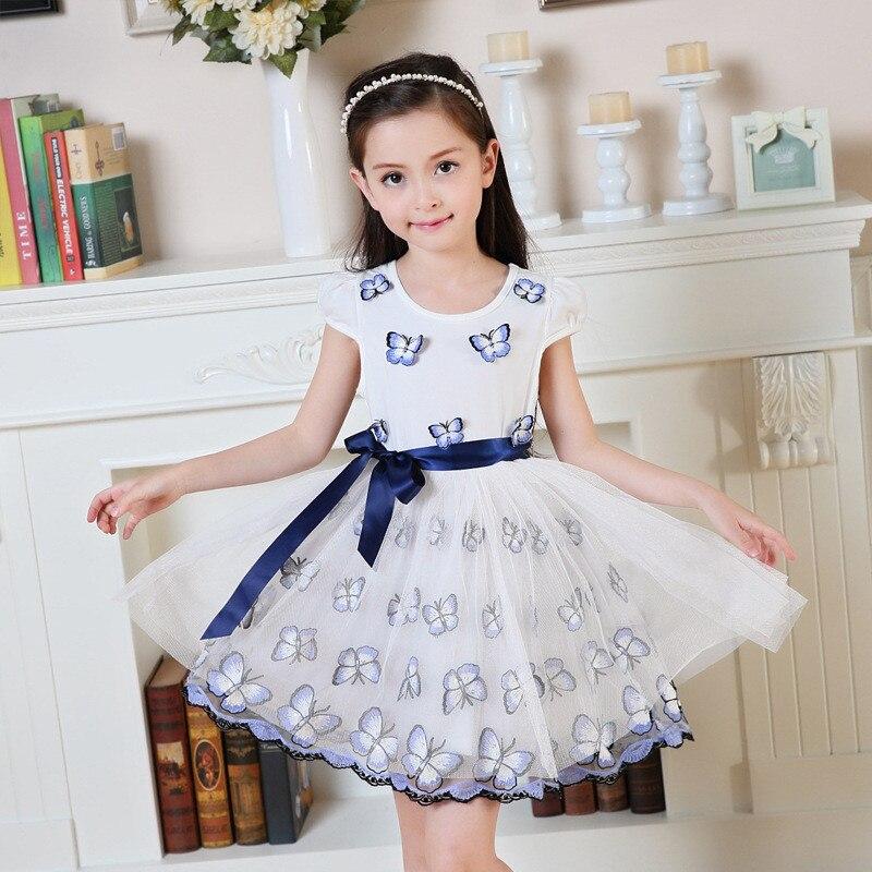 07bf0c1270fd Verano chica mariposa diario vestido malla de algodón princesa boda ...