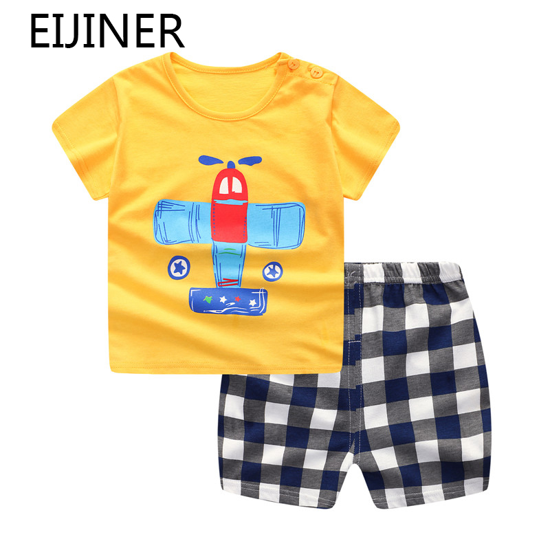 2de61500dde76 US $2.99 43% OFF|Plaid Baby Boy Clothes Summer 2019 New Aircraft Baby Boy  Girl Clothing Set Cotton Baby Clothes Suits Short Infant Kids Clothes-in ...