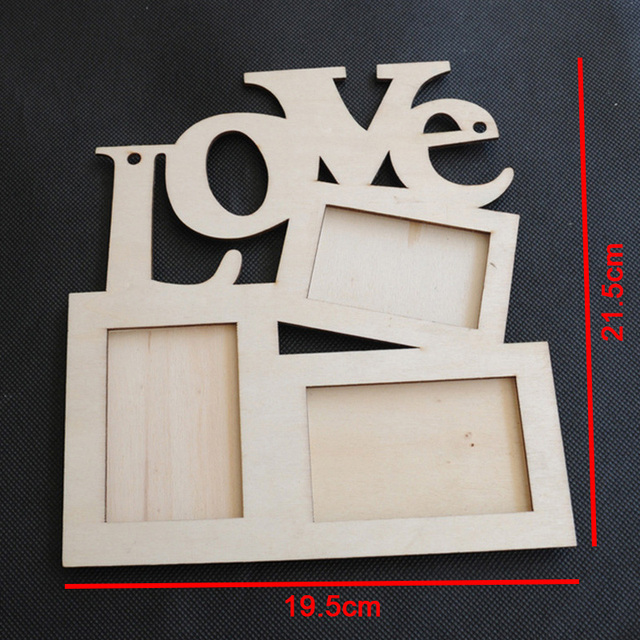 1pcs 3 In 1 Photo Frame Hollow Love Wooden White Base Diy Picture