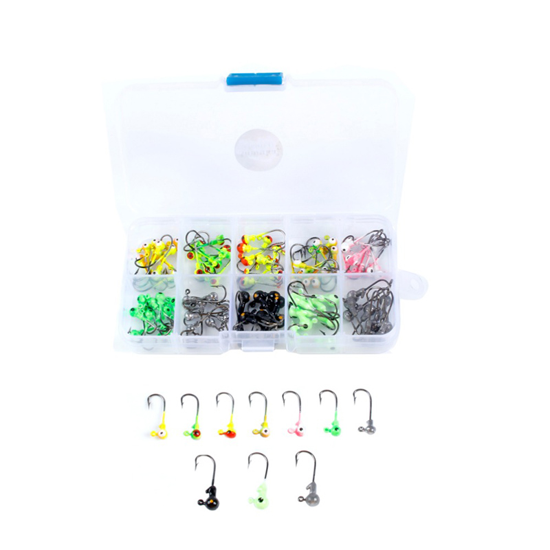 100pcs Box 1g 2g Multicolor Lead Head Jigs With Single Hook Pesca Accessories Fishing Supplies Hooks in Fishhooks from Sports Entertainment