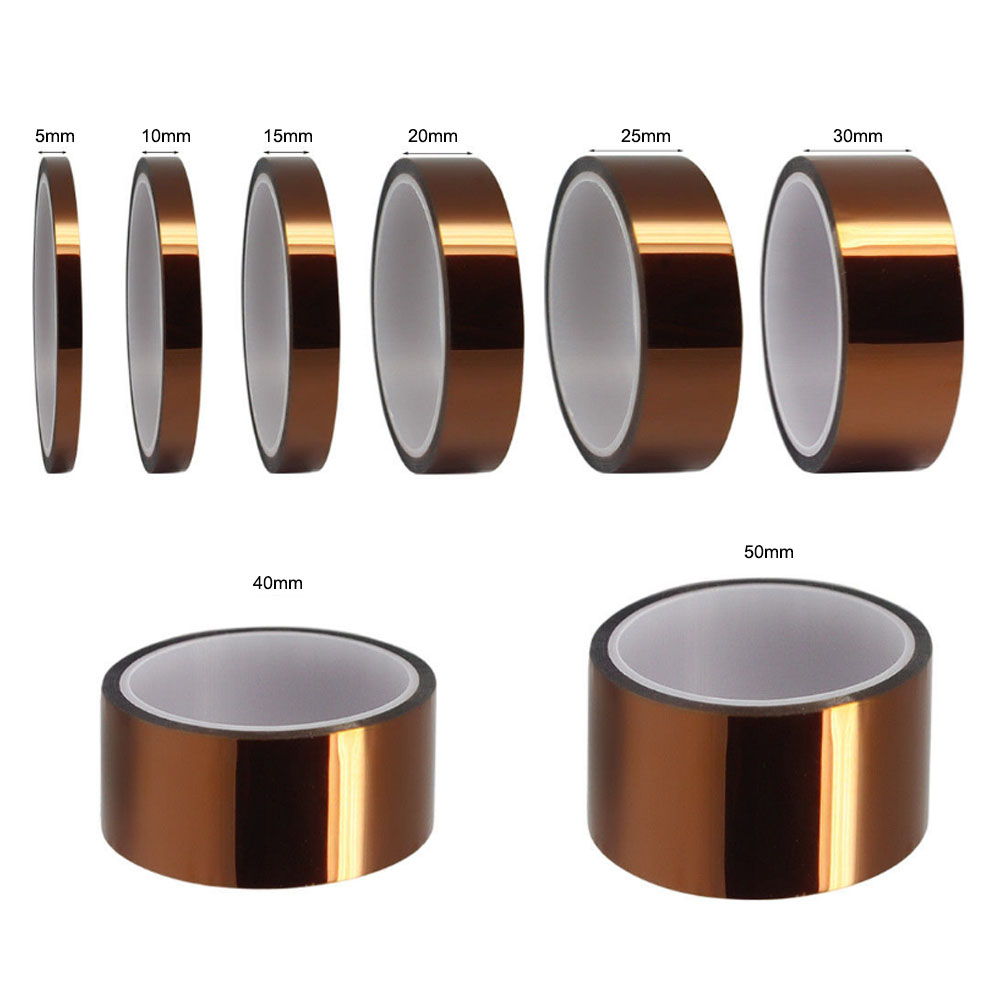 1pcs 33meter X 5 - 50mm One-side Self-adhesive High Temperature Heat Resistant Polyimide Tape