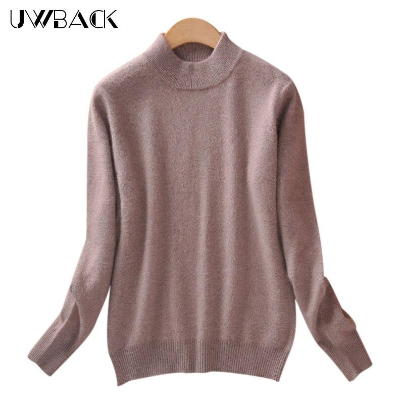 Uwback 2018 Svetr dámské vlny nové velikosti plus velikost růžový tenký základní svetr Femme 2XL kašmírový pletený svetr ženy TB1159
