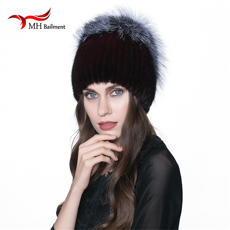 50ed27aae6b2c MH Russia winter hats Luxury mink fur hat genuine with whole silver ...