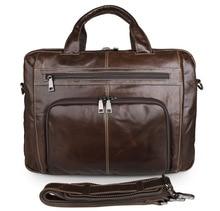 Promotion Real Genuine Leather Men Messenger Bags Cow Leather Portfolios Cowhide Briefcase 15.6″ Laptop Shoulder Bag #VP-J7310